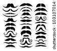 Big vector set of mustache. - stock vector