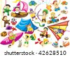 Big world picture of collection cartoon personage. Camping. - stock photo