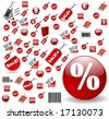 biggest Set of red price tags in vector design - stock vector