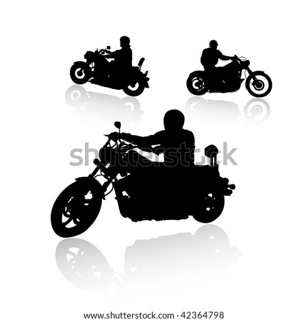 Biker silhouettes collection with reflection, vector illustration