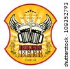 Bikers Beer label, vector illustration - stock vector