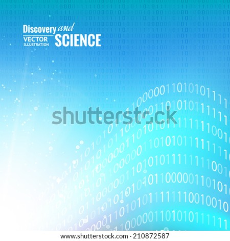 Binary code abstract for science background. Vector illustration.