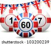 bingo balls with union jack and england design and united kingdom flag design - stock vector