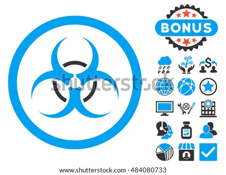 Bio Hazard icon with bonus elements. Vector illustration style is flat iconic bicolor symbols, blue and gray colors, white background.