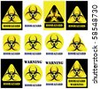 Bio-hazard vector sign, symbol set isolated on white and black - stock photo