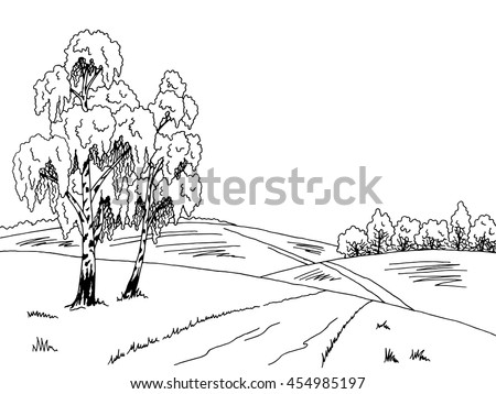 Birch tree road graphic art black white landscape illustration vector