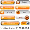 Bird orange web buttons for website or app. Vector eps10. - stock vector