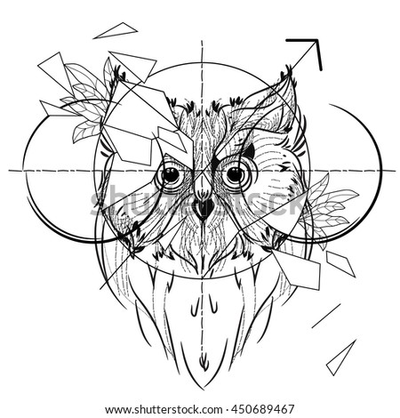 Sketch Deer Skull All Seeing Eye 653924692 on stag head outline