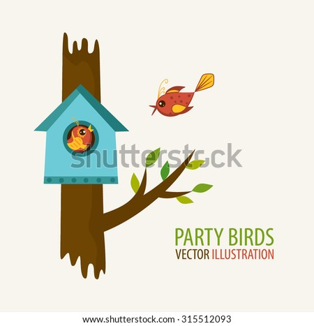 Birdhouse and bird lovers. Vector illustration.