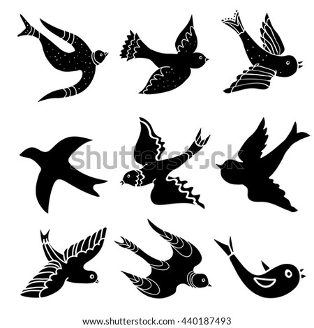swallows tattoo template vector silhouette stock vector 357458897 shutterstock. Black Bedroom Furniture Sets. Home Design Ideas
