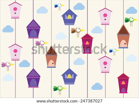 birds with houses