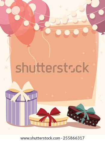 Birthday background with presents and balloons, vector illustration
