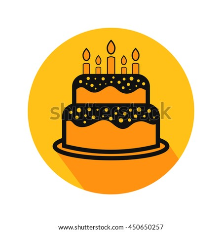 Cake Flat Icon Stock Vector 375967330 Shutterstock