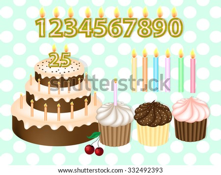 Birthday Cake with Candles Numerals.Birthday candles set. Realistic Vector Illustration