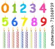 Birthday Candles Of Different Form, Isolated On White Background, Vector Illustration - stock photo