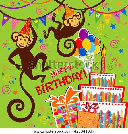 Birthday card. Celebration green background with Birthday cake, monkey, balloons, gift boxes and place for your text. vector illustration