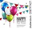 Birthday card with balloons and bunting flags. - stock photo
