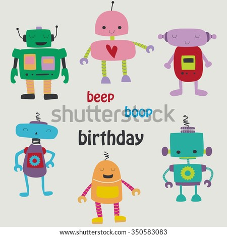 Birthday card with cute funny robots in cartoon style. Beep boop birthday.