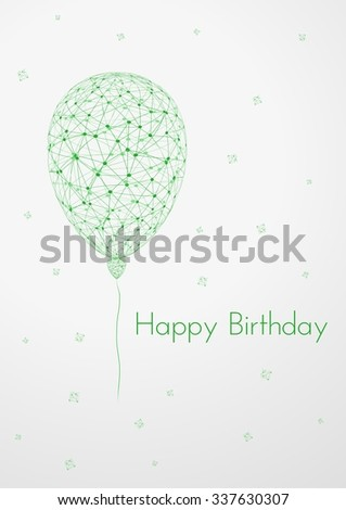 birthday card with linear balloons, falling confetti