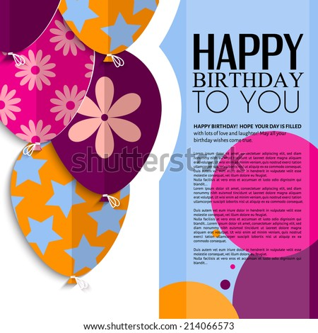 Vector Birthday Card Paper Balloons Style Vector 302326490 – Vector Birthday Card