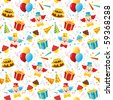 Birthday party seamless pattern - stock vector