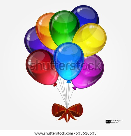 Birthday party vector background -  colorful festive balloons with bow for celebrations card in isolated white background with space for you text.