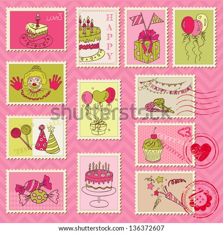Birthday Postage Stamps - for scrapbook, invitation, congratulation - in vector