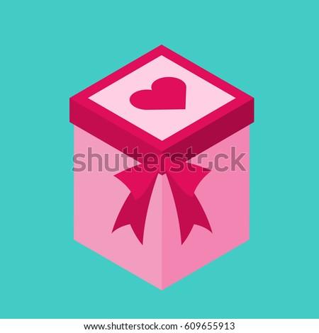 Birthday, wedding gift box. Card, invitation design. Vector ...