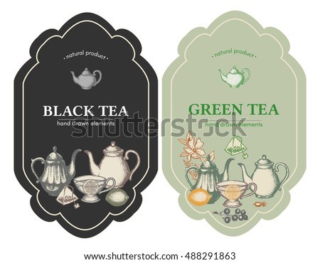 Black and green tea design vintage labels, tea template vector illustration
