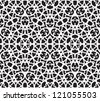 Black and white abstract background, seamless pattern with hearts - stock vector