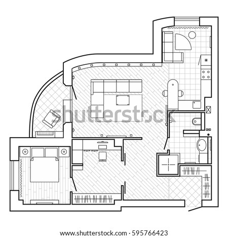 Black And White Architectural Plan Of A House Layout Of The Apartment With The Furniture