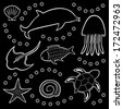 Black and white background with sea animals (vector) - stock vector