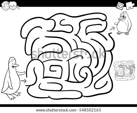 Black and White Cartoon Illustration of Education Maze or Labyrinth Activity Game for Children with Mother and Baby Penguin Coloring Page