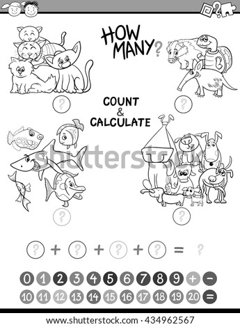 Black and White Cartoon Illustration of Educational Mathematical Count and Calculate Activity Game for Preschool Children Coloring Book