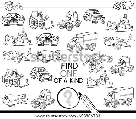 set fanny cartoon transport coloring book stock vector