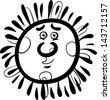 Black and White Cartoon Vector Illustration of Funny Sun Comic Mascot Character for Children to Coloring Book - stock vector