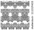 black and white collection of seamless ornamental floral stripes - stock vector