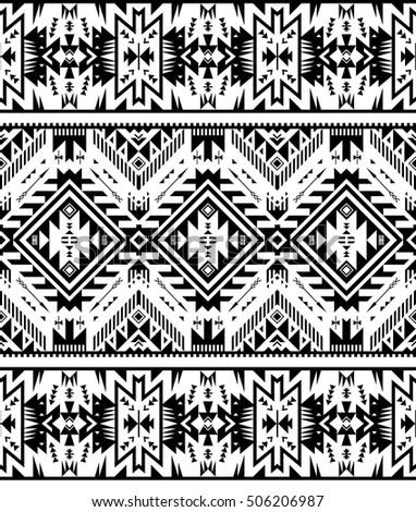 black white color tribal navajo seamless stock vector