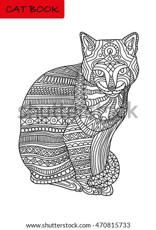 Black And White Coloring Book For Adults Colorized Cat With Patterns