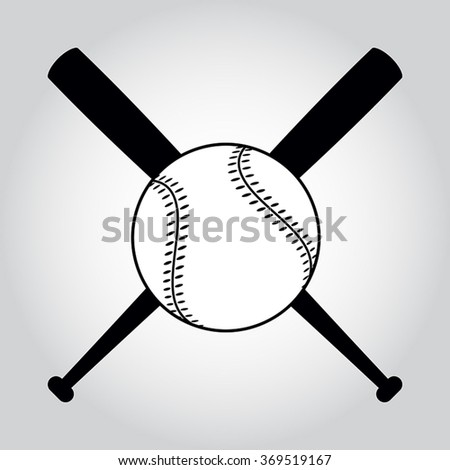 Vector Illustration Crossed Baseball Bats Ball Stock Vector ...
