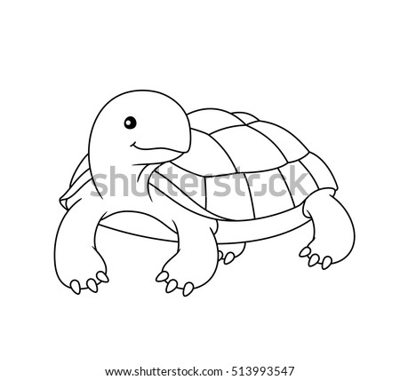 Black and white cute cartoon turtle. Coloring book for the children. Vector illustration