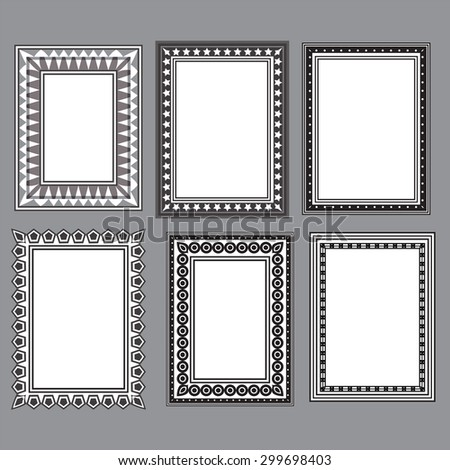 black and white designed frames vector illustration image collection set showing various frame styles