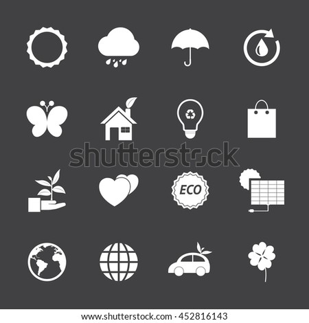 Black and White Eco icons set