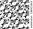 Black and white fish  endless background. All objects are conveniently grouped on different layers and are easily editable. - stock