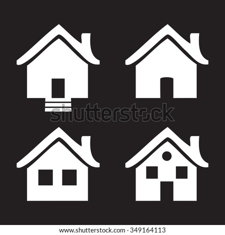 Black and white flat icons Homes isolated vector  illustration
