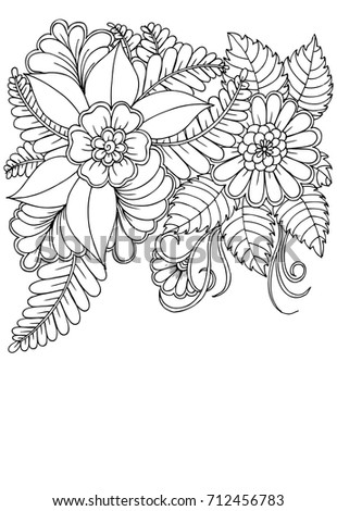 Fantasy Flowers Coloring Page Hand Drawn Stock Vector