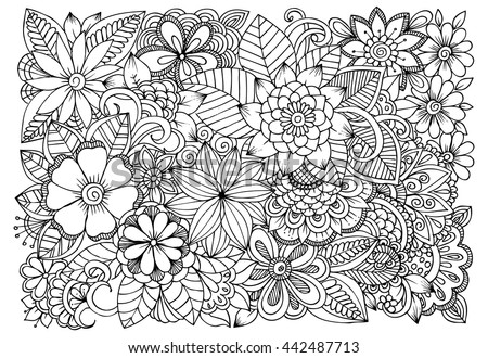 black and white flower pattern for coloring doodle floral drawing art therapy coloring page