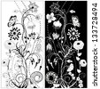 Black and white flowers - stock vector