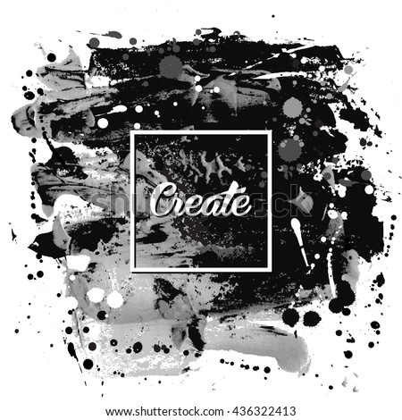 Black White Flyer Template Invitation Paint Vector 424569463 – Black and White Flyer Template