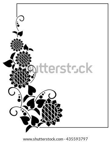 Black And White Frame With Decorative Sunflowers Silhouettes Vector Clip Art